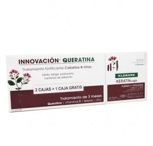 KeratinCaps Tratamiento de 3 Meses, 2 cajas de 30 capsulas + 1 caja de 30 capsulas de Regalo! - Klorane