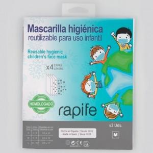 """Mascarillas Higiénicas Infantiles Reutilizables, Talla """"M""""  3 Unidades. - Rapife"""