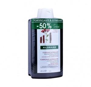 Pack Champú Quinina Fortificante y Estimulante, 400 ml. + 400 ml. - Klorane