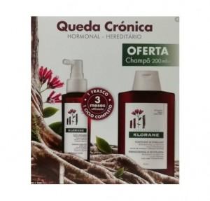 Pack Complejo Triactivo Anticaída Crónica, 100 ml.+ Champú Estimulante y Fortificante a la Quinina Con Vitaminas B, 200 ml Gratis. - Klorane