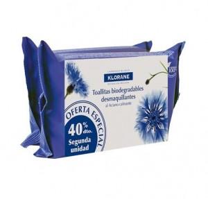 Pack Toallitas Desmaquillantes Calmantes Biodegradables, 25 + 25 Unidades. - Klorane