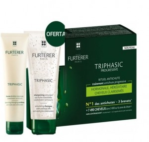 Pack Triphasic Progressive Ritual Anticaída, 8 x 5.5 ml + Triphasic Champú Estimulante con Aceites Esenciales, 100 ml. de Regalo! - René Furterer