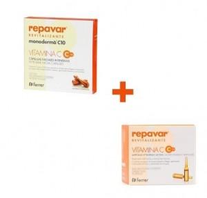 Pack Antioxidante Repavar Revitalizante Monoderma C10, 28 cap + Ampollas Vitamina C Activa C10, 20 ampollas.- Ferrer