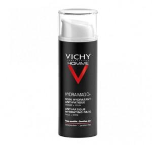 Vichy Homme Hydra Mag C + - Tratamiento hidratante anti-fatiga Rostro + Ojos, 50 ml. - Vichy