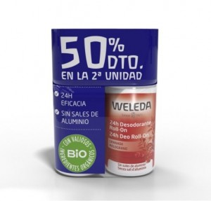 Duplo Granada Desodorante Roll-on 24h, 50 ml + 50 ml(50 % dto. 2da Unidad). - Weleda