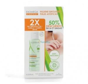 Pack 2 x 1 Exomega Gel Limpiador 2 en 1 Cabello y Cuerpo , 500 ml + 500 ml. - A-Derma