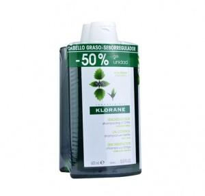 Pack Champú de Ortiga Bio - Seborregulador Cabello Graso, 400 ml. + 400 ml. - Klorane