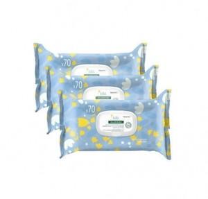 Pack Toallitas Limpiadoras Suave a la Caléndula Para Bebés, 3 X 70 Unidades. - Klorane