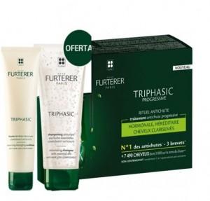 Pack Triphasic Progressive Ritual Anticaída, 8 x 5.5 ml + Triphasic Champú Estimulante con Aceites Esenciales, 100 ml. de Regalo! - René Furterer
