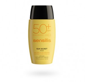 Sun Secret Ultra Fluido Facial Protector y Antiedad con COLOR SPF50+, 40 ml. - Sensilis