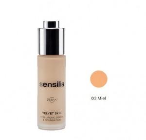 Velvet Skin Maquillaje & Serum Hialurónico Nº 3 Miel, 30 ml. - Sensilis