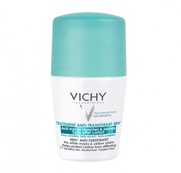 Desodorante Antitranspirante 48h, Antimarcas Amarillas y Blancas, Anti Efecto Carton, 50 ml.- Vichy