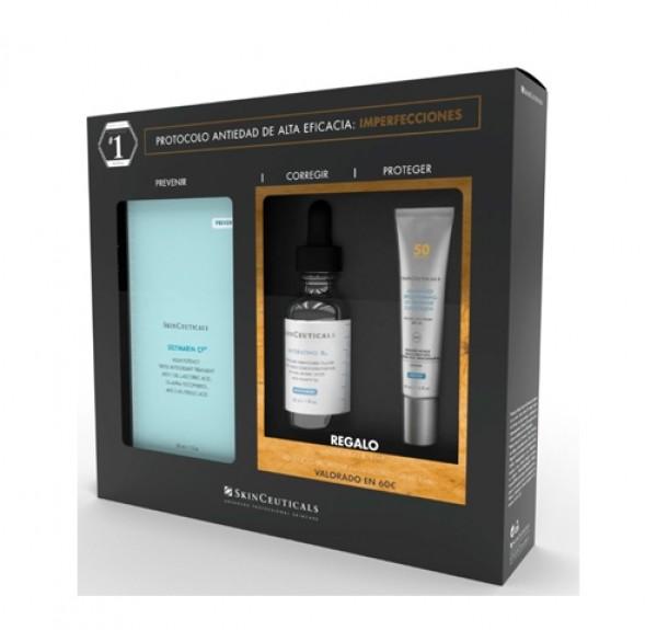 Cofre Silymarin Sérum Antioxidante, 30 ml. + Hydrating B5 Sérum, 15 ml. + Advanced Brightening UV Defense  SPF50, 15 ml. de Regalo. - Skinceuticals