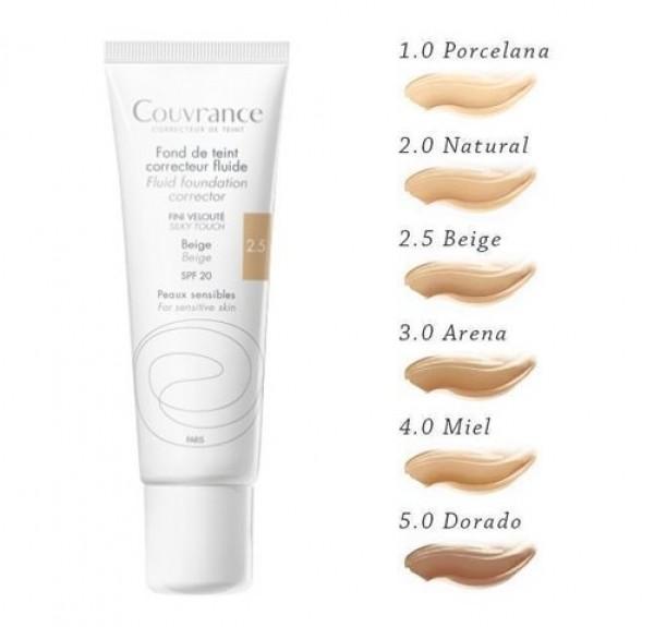 Couvrance Maquillaje Fluido Tono (2.5) Beige, 30 ml. - Avene
