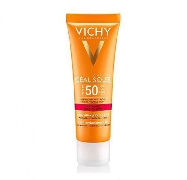 Ideal Soleil Cuidado Anti-Edad 3 en 1 SPF 50, 50 ml. - Vichy