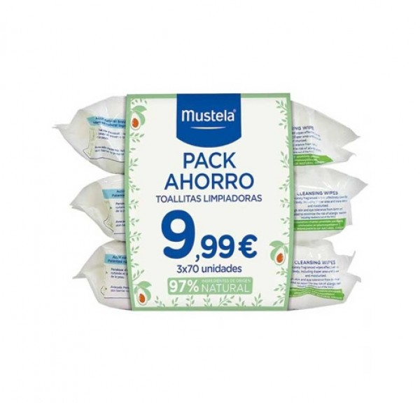 Pack Ahorro Toallitas Limpiadoras 3 x 70 uds. - Mustela