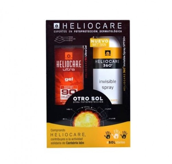 Pack Heliocare 90 Ultra Gel SPF 90, 50 ml. + Heliocare Invisible Spray SPF 50+, 200 ml. - Cantabria Labs