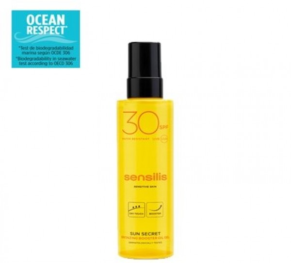 Sun Secret Gel Aceite activador del bronceado SPF 30+, 200 ml. - Sensilis