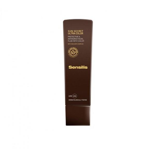 Sun Secret Ultra Fluido Facial Protector y Antiedad con COLOR SPF50+, 40 ml. - Sensilis