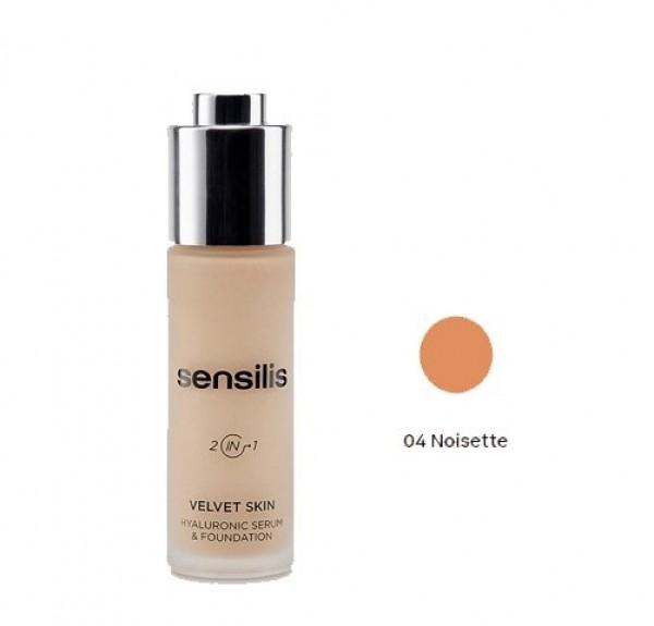 Velvet Skin Maquillaje & Serum Hialurónico Nº 4 Noisette, 30 ml. - Sensilis