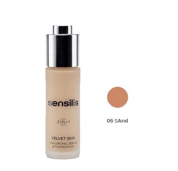 Velvet Skin Maquillaje & Serum Hialurónico Nº 5 Sand, 30 ml. - Sensilis
